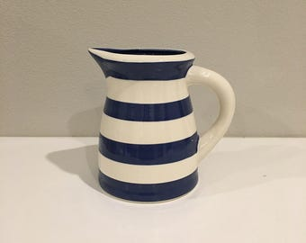 Terramoto Ceramics (original) Blue and White-Striped Medium Pitcher