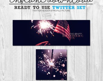premade INDEPENDENCE DAY twitter cover header avatar image set, ready to use twitter pack, happy independence day graphics, social media