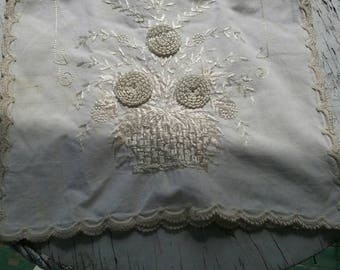 """Charming cottage  shabby Antique 47 """" by 13"""" table or dresser runner scarf"""
