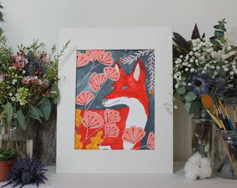 The Red Fox Gouache Original Illustration by Clay Horses