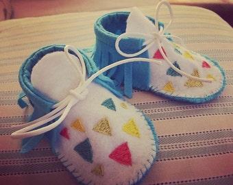 Geometric Baby Moccasins