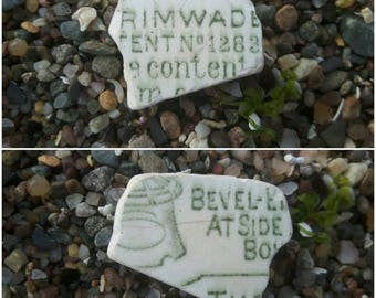 Double sided piece of pottery sea worn sea glass pottery genuine beach find surf tumbled