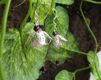 Dangle flower earrings purple