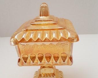 Vintage Marigold Style Carnival Glass Pedestal Wedding Box