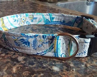 Blue White Floral Adjustable Dog Collar