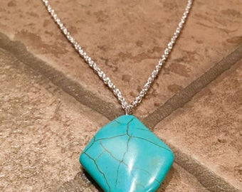 Long pendant turquoise and silver diamond necklace