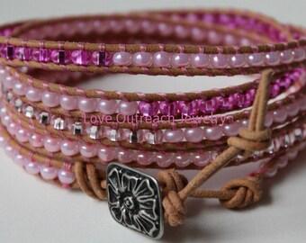 Leather Wrap Bracelet, Pink Wrap Bracelet, Breast Cancer, Leather Beaded Wrap Bracelet, Beaded Wrap Bracelet, Pink Leather Wrap Bracelet