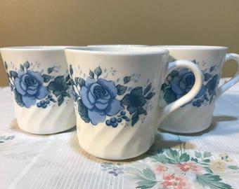 "4 Vintage Corelle ""Blue Velvet Rose "" Cups"