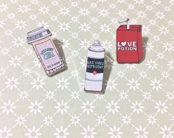 Love Potion | Chill Pills | Bad Vibes Repellent Enamel Lapel Pins