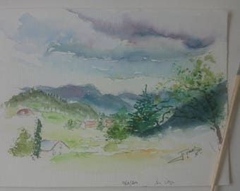 Original watercolor of a landscape in France, original painting of a french village with trees et clouds
