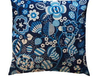 Tree Flower - navy - mid blue - cushion - handmade