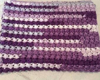 purple handmade crochet baby blanket