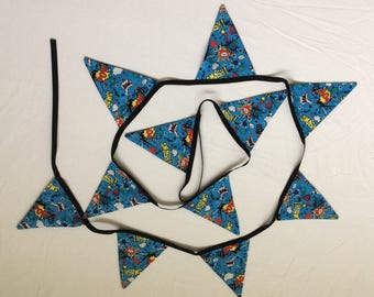 Handmade Bunting in Blue Action Fabric with Black on Reverse