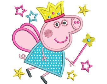 Cute Fairy Pig Applique Embroidery Design, Peppa, Girl's Princess Fairy Pig Machine Embroidery, 4x4, 5x7, Instant Download, No: A100-1
