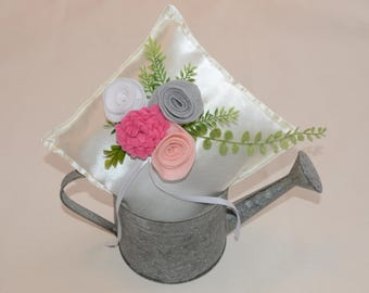 RING PILLOW; ring bearer pillow; wedding pillow; flower girl basket; felt flower; felt pillow; boho wedding; rustic wedding; pretty basket