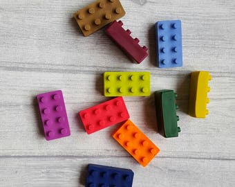 Hand poured crayons.  Lego inspired bricks.  Pack of 10