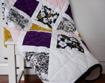 Quilted Vintage Look Baby Blanket - Violet