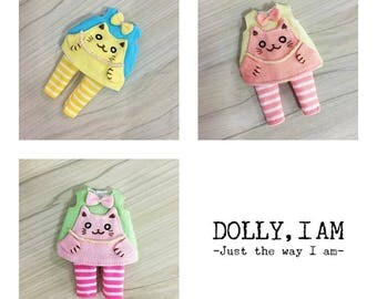 Set of 3 cats for BJD Dolls Lati Yellow/PukiFee bjd Hand embroidery cat Blue-Yellow/Yellow-Oldrose/green-pink
