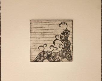 Wind, etching, waves, printmaking, fine art, black and white, spirals, nature