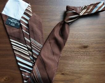 Brown, Light blue, Tan Vintage 1970's Tie with Diagonal Stripe