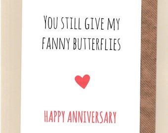 Funny ANNIVERSARY card / Husband / Wife / Partner  /Humour / Banter / Fun /Rude / Cheeky / Greetingcards  - Fanny Butterflies