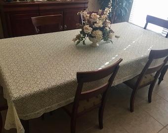 "Beautiful Lace Tablecloth, Ecru and Cream, Floral Scrolls, 123"" x 65"""