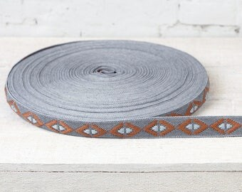 Ribbon trims ethnic pattern band ochre Brown grey width 2,3 cm