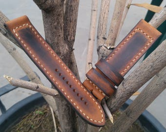 100% Handmade Vintage appearance leather watch strap, men's panerai band, watch bands, leather straps, panerai watch strap 20mm.