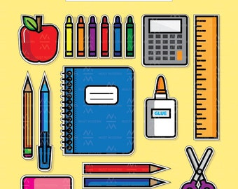 School Supply Clipart, DIY Stickers Included, School Illustration, Kawaii, School Clip Art