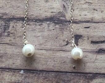 Long drop sterling silver earrings //bead earrings //silver chain earrings //gift idea //graduation gift //