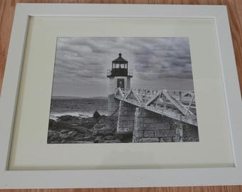 Framed Black & White 8 x 10 photo of Marshall Point Lighthouse in Port Clyde, Maine