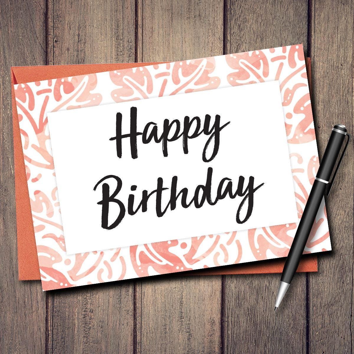 Happy Birthday Card Printable Instant Download Blank Inside Cute Unique Script Font Cards Watercolor Water Color