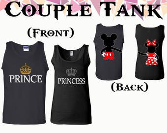 Prince Princess Couple Tank Prince And Princess Mickey Minnie On Back Tank Couple Tank Top Couple Tank Softstyle Tank Gift For Couple