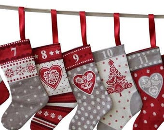 Scandi Christmas Mini Stockings Advent Calendar Craft & Sew - PANEL