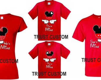 Mickey And Minnie DISNEY FAMILY T-Shirts he's, she's mine Soul, Mate matching