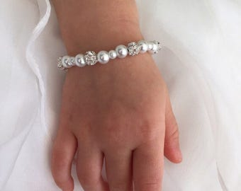 Pearl Bracelet, baby bracelet, baby pearl bracelet flower girl bracelet baptism bracelet christening bracelet bridesmaid bracelet baby gift