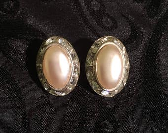 Dainty and Elegant Vintage Faux-Pearl, Rhinestone Clip on Earrings 1950s