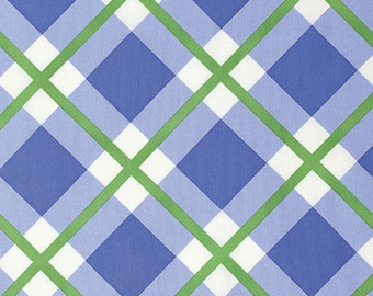 Green Blue and White Plaid Fabric By the Yard - Enchanted: Perpetual Plaid - Periwinkle from Free Spirit Fabric