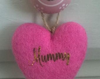 Felted heart, felt hearts, felt heart ornament,heart decoration, mothers day, mummy, hanging heart, wool hearts, custom, hanging decoration