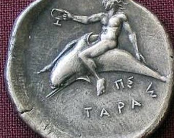 Dolphin Silver Tarent Didrachm Greece 380-345 BC fine silver(925) Boy on a Dolphin hard to find, only 2 available, Excellent