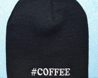 Embroidered Coffee Beanie