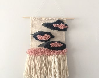 Woven Wall Hanging in Pink & Navy