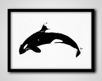 Orca Print, Minimalist Whale Printables, Black and White Nursery Poster, Large Kids Room Orca Print, Printable Childrens Room Nursery Poster