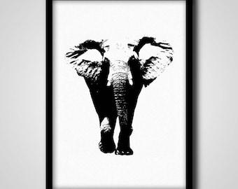 Elephant Poster, Minimalist Safari Animal Print, Black and White Kids Room Wall Art, Printable Nursery Elephant Poster, Babies Room Wall Art