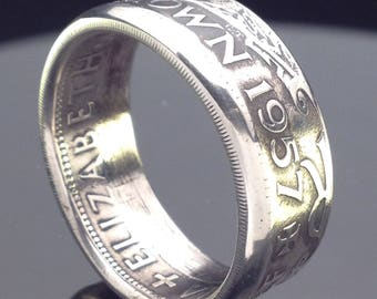 British Half Crown Coin Ring (1953-1970)
