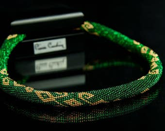 Early Autumn (green and gold): Bead handmade jewelry necklace