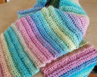 Spring pastel crocheted scarf