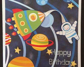 Handmade 'Outer Space' Happy Birthday Card 14cm x 14cm