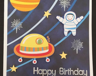 Handmade 'Outer Space' Happy Birthday Card 14cm x 14cm