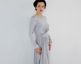 evening gown - long silver dress - prom dress - dress with embellishment - long silk dress - made to order